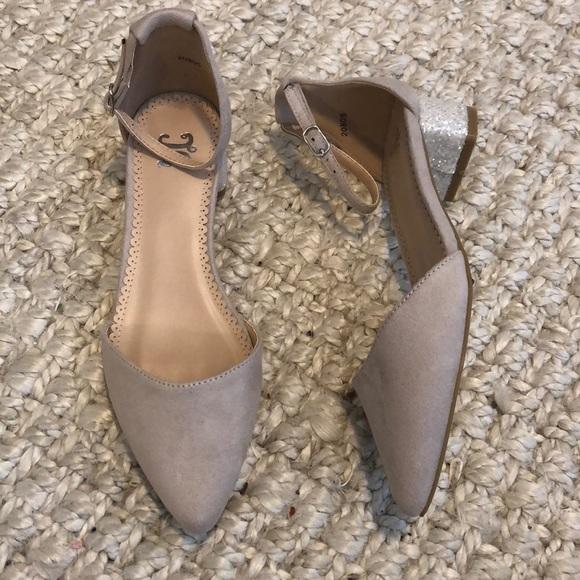 424a1f54e0f DSW Shoes - Glitter block heel nude shoes.